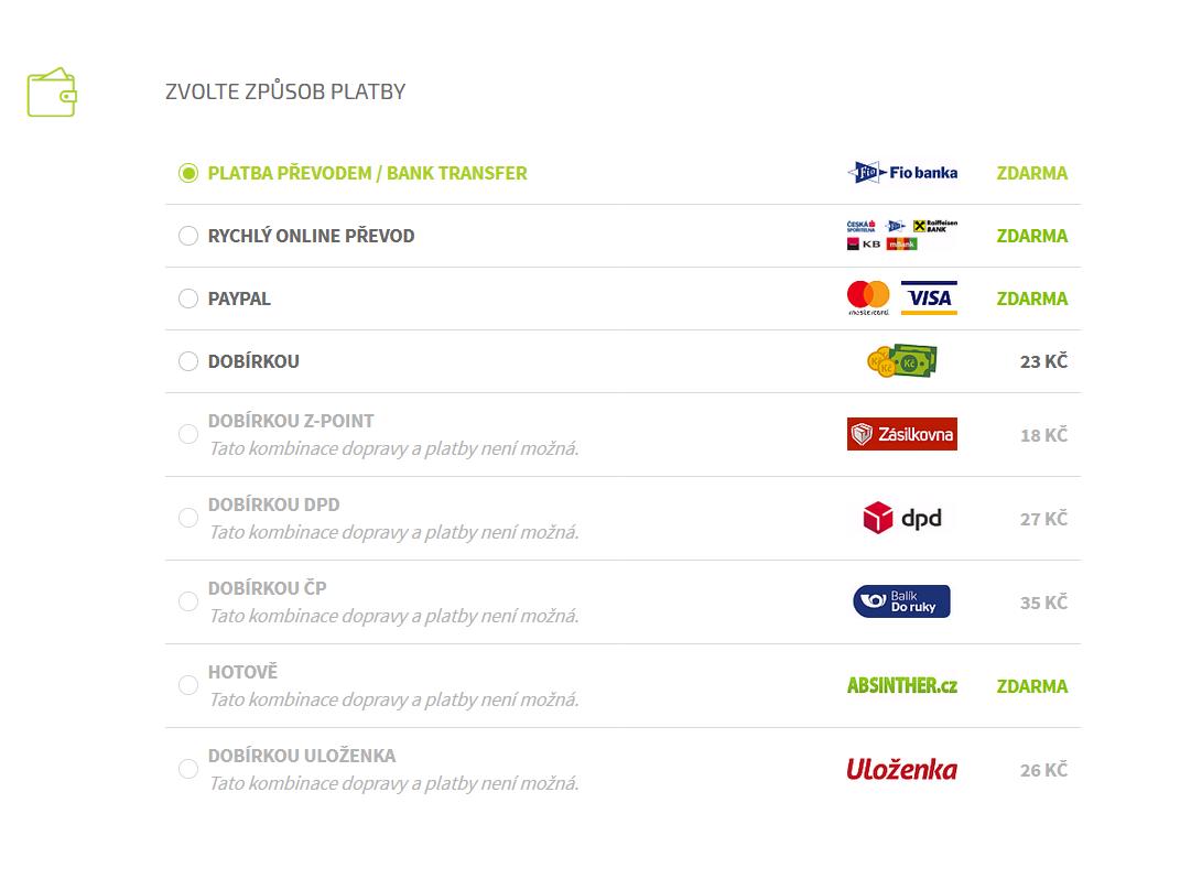ABSINTHER.cz - Způsoby dopravy a platby